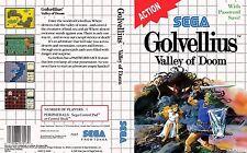 GOLVELLIUS Valley Of Doom Sega Master System Box Art Case Insert Cover SCAN