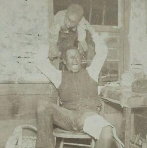 Black Americana Father Playing Boy Spider African American Photo Stereoview B174