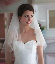Ivory Bridal Wedding Veil 2 Tier Cut Edges Elbow Length with Comb