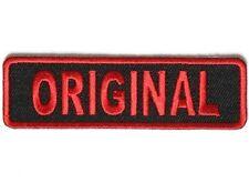 "Red ORIGINAL on BLACK 3.5"" x 1"" iron on patch (3993) Biker Club vest"