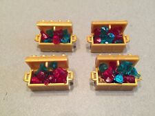 LEGO Lot of 4 Gold Treasure Chests filled w/ Rubies and Sapphires Ruby Red Blue