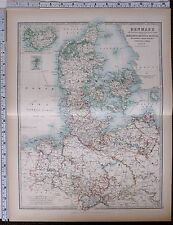 1903 LARGE MAP DENMARK ICELAND FAROE ISLANDS SCHLESWIG HOLSTEIN HANOVER