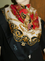 """Patricia Paris Red Black Scarf Rampant Lion Horse 30"""" Sq Lahmy Polyester Italy"""