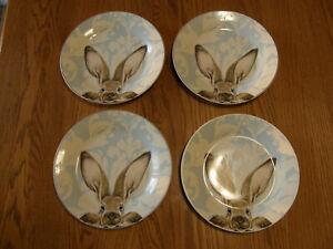 Set 4:Williams Sonoma Damask Bunny Rabbit Dinner Plates - Easter, Spring - New