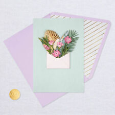Hallmark Blank Card by Signature  ~ 3D Tropical Plant Explosion Out of Envelopes