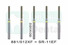 10pcs Dental Diamond Burs Fg Round End Cylinder 881012xf Sr 11ef Extra Fine
