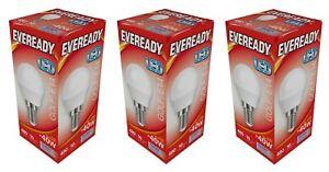 x 3 Eveready 6w (=40w) LED Golf Ball Lamp – Small Edison Screw / Daylight White