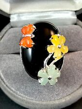AMAZING 925 STERLING BLACK ONYX YELLOW ORANGE JADE BUTTERFLY FLORAL RING SZ 7.75