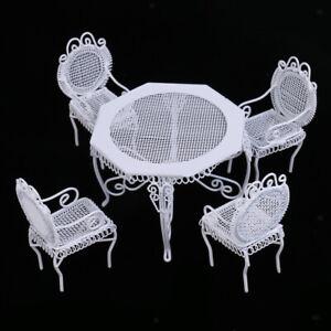 1/12 Bambole Miniatura Mobili Sedie Tavolo Ottagonale Decorazione Casa Metallo