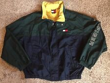 Vtg TOMMY HILFIGER 90s Sailing Hooded Flag Spellout Windbreaker Sz XXL Jacket