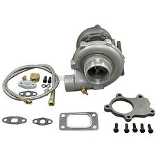T3 T04E .60 A/R .63A/R Turbo Charger 50+ HP + 5 Bolts Flange + Oil Feed Line Kit
