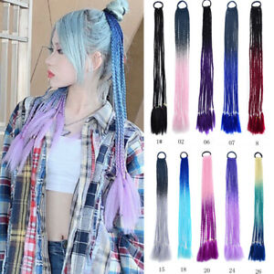 Colorful Hair Band Braided Ponytail for Girls Synthetic Braiding Hair Extensions