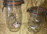 2 International Marmalade Geese Glass Canisters