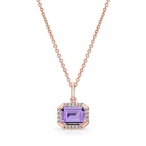 14k Rose Gold Octagon Purple Amethyst Diamond Pendant Necklace Natural Womens