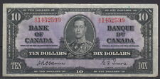 1937 BANK OF CANADA $10 DOLLAR A/D 1452599 BC-24a SCARCE OSBORNE-TOWERS NOTE
