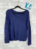 WOMEN'S express cable knit sweater in navy blue long sleeve sz m