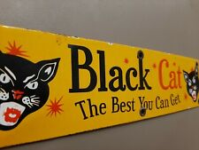 Black Cat Fireworks Porcelain Sign Explosive 4th of July Party Beer Fun Garage