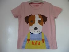 New Mini Boden Dog Applique Top 4-5 Years £18 Pet Portrait TShirt Pink Patch