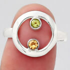 Natural Peridot and Citrine 925 Sterling Silver Ring s.9 Jewelry E835