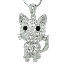 Cute Kitty New Pendant Gift Jewelry Cat Necklace Made With Swarovski Crystal