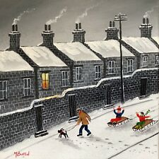 More details for mal.burton original oil painting.  watch out , fun snow    northern art direct