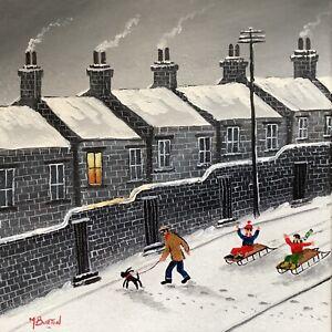 MAL.BURTON ORIGINAL OIL PAINTING.  WATCH OUT , FUN SNOW    NORTHERN ART DIRECT