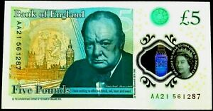 BRAND NEW £5 POLYMER BANKNOTE (B414)-2016-*PREFIXES AA21 *NOTES X 1
