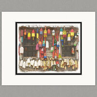 Maine Lobster Buoys Original 8x10 Art Print Matted to 11x14