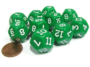 Set of 10 D12 12-Sided 18mm Opaque RPG Dice - Green with White Numbers
