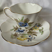 Salisbury Fine Bone China Floral Yellow /Blue/Tea Cup And Saucer Made In England