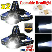 2*Rechargeable Tactical 350000LM T6 Headlamp 18650 LED Headlight Head Torch Lamp