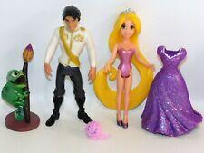 "Disney Rapunzel 4"" Doll MagiClip Dress w/Flynn & Pascal Polly Pocket Tangled"