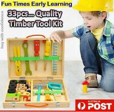 Wooden Tool Toys Toolbox Simulation Kids Educational DIY Construction Tool Kit
