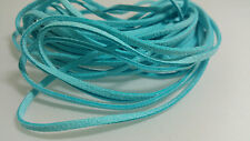 5 YARDS - 15 FEET Aqua Turquoise Blue Faux Suede Cord Leather Ribbon Soft #20