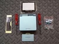 Game Boy Advance SP Replacement Housing Shell  PEARL BLUE  + Screen Lens