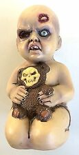 "13"" ZOMBIE EVIL BABY PROP With TEDDY BEAR Scary Dead Plastic Diaper Decoration"