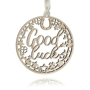 Good luck gift wood plaque made in the UK 10cm x 10cm