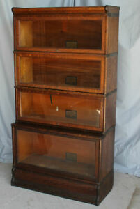 Antique Oak Globe Wernicke Barrister Bookcase – step back with large E section