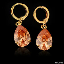 Women Champagne Earings Crystal Drop Dangle Hoop Earrings Yellow Gold Filled