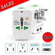 2X World Universal Travel Adapter Convertor wall Plug Power US UK AU EU