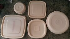 Vintage Rubbermaid Replacement lids seals Servin Saver Almond Round Square