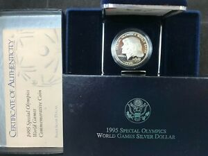 1995-P $1 Proof Special Olympics Commemorative Silver Dollar w/ Box and COA