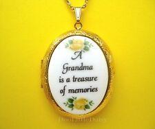 GRANDMOTHER Porcelain GRANDMA Treasure verse CAMEO Locket Necklace for Christmas