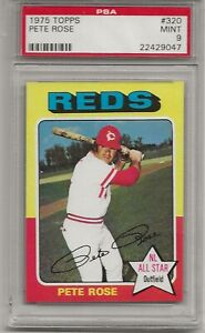 1975 TOPPS #320 PETE ROSE, PSA 9 MINT, HIT KING, CINCINNATI REDS, IMMACULATE
