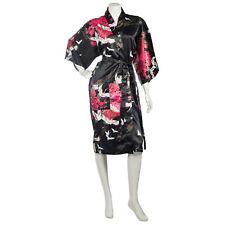 Nero Giapponese Kimono Corto Crane Poliestere