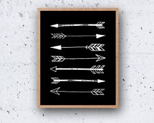 8 x 10in TRIBAL ARROWS nordic modern black white popular wall art print