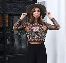 Zara Embrodered Beaded Mesh Long Sleeve Crop Top Sz S Coachella Bohemian Chic