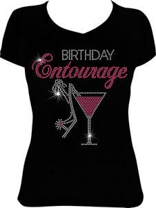 Birthday Entourage Martini Bling Shirt, Birthday Rhinestone Bling Shirt,  BD31