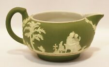 Antique Wedgwood Jasperware Tiny Creamer Dipped Olive Green 1891-1908
