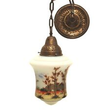 Lampe antike Pendellampe um 1919-1939 Glas Messing Handbemalt farbiger Leuchter